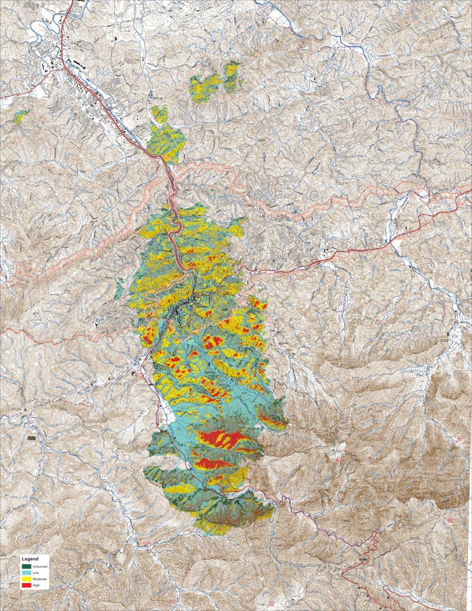 Fires In Gatlinburg Map : fires, gatlinburg, Great, Smoky, Mountains, National, Chimney, Severity, Avenza