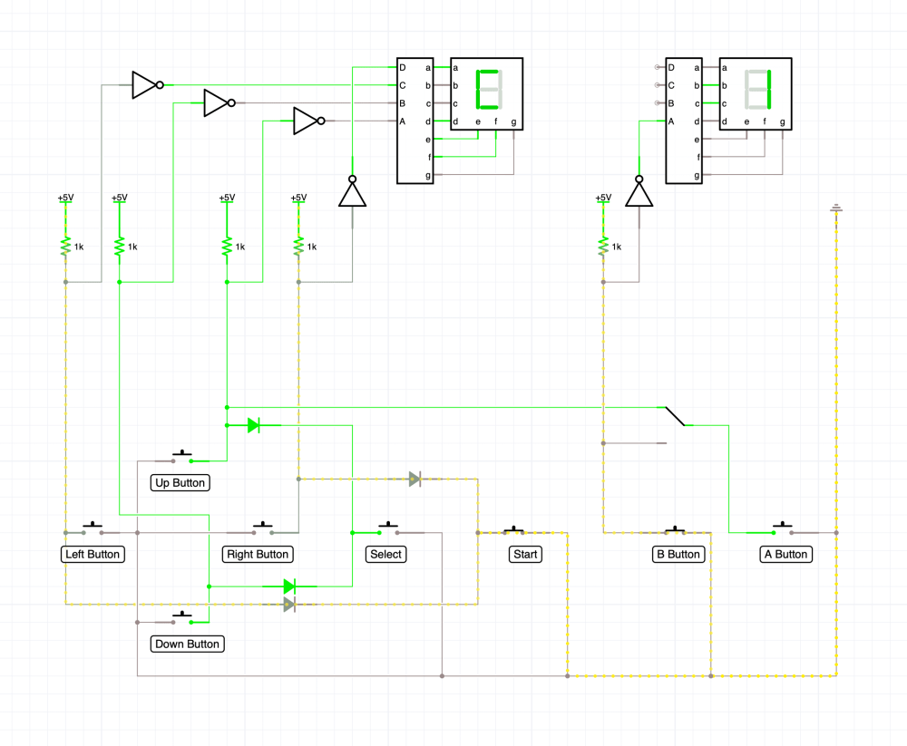 medium resolution of icircuit simulation of nes controller with select and start wired up