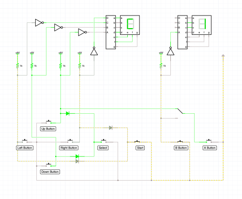 small resolution of icircuit simulation of nes controller with select and start wired up