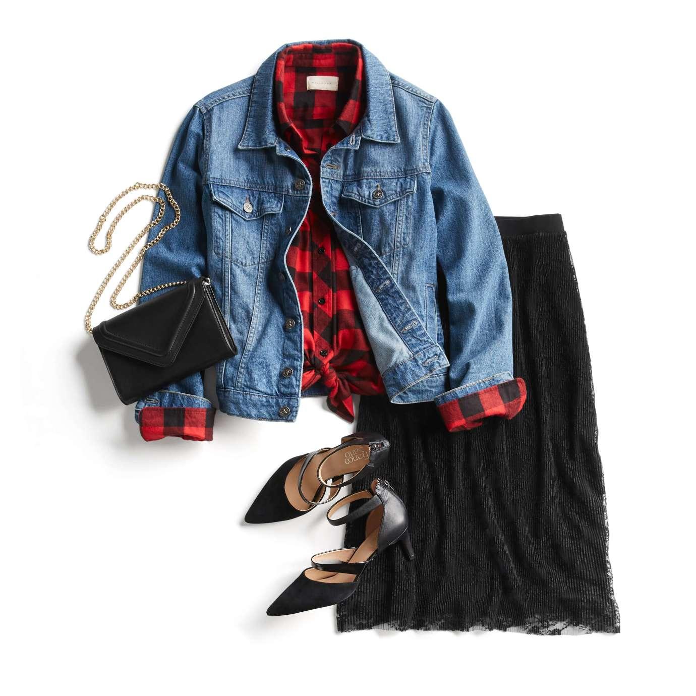 wear oversized denim jacket with skirt