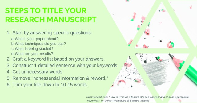 11 Ways to Dramatically Improve your Research Manuscript Title and