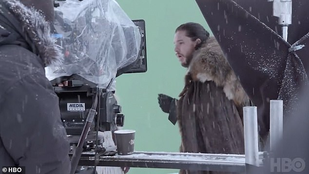 So funny!Game Of Thrones' Kit Harington GAGGED in jest after filming a passionate kiss with BFF Emilia Clarke on set in hilarious behind-the-scenes footage