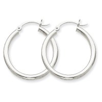 10K White Gold 2.5mm Tube Round Hoop Earrings | eBay