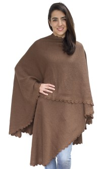 Womens Alpaca Wool Crochet Border Knitted Ruana Poncho ...