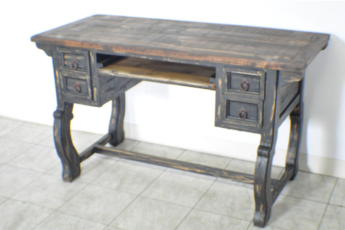 Black Distressed Santa Rita Rustic Executive Office Desk