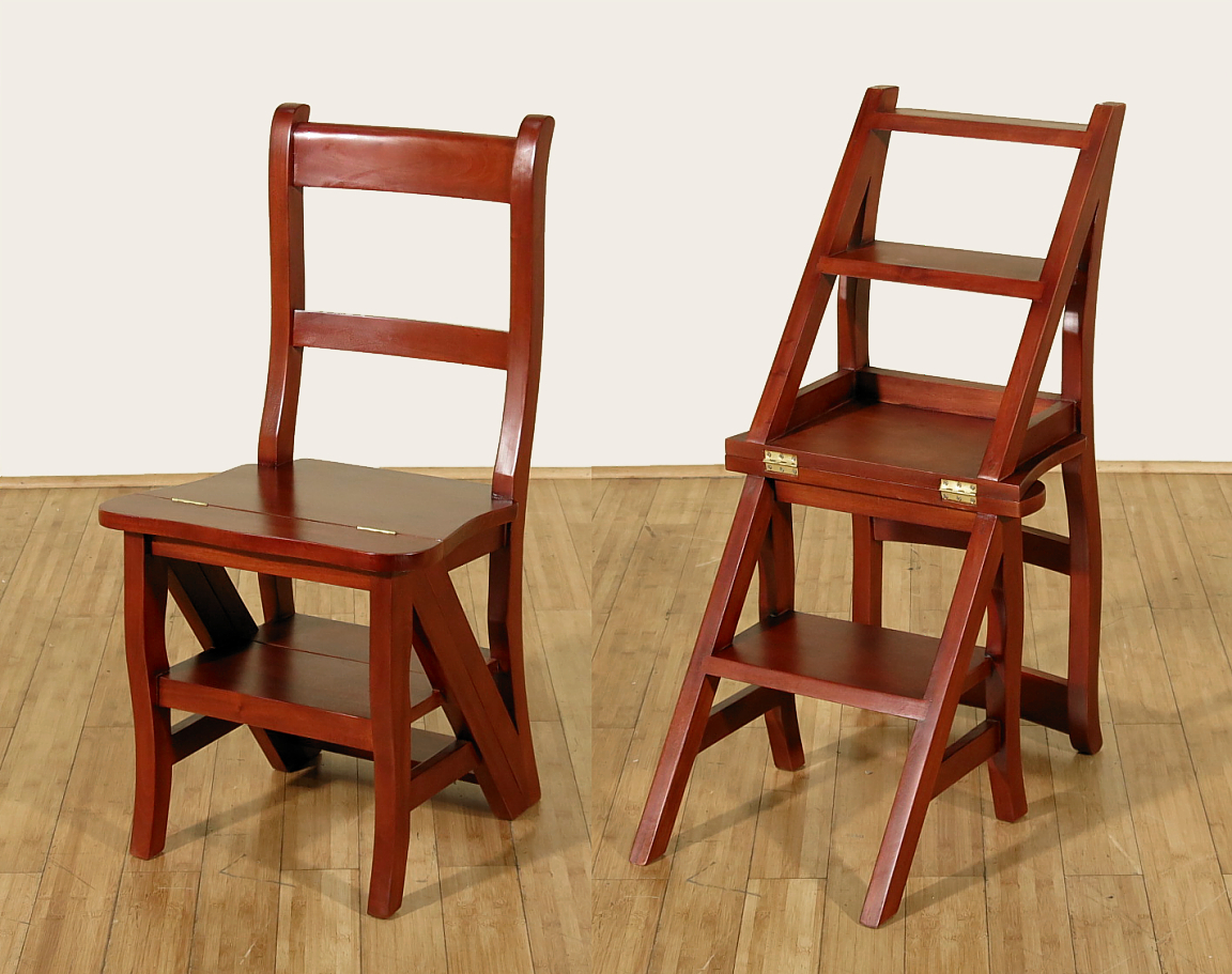 Library Ladder Chair Cherry Convertible Ladder Chair Office Library Step Stool