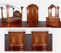 Monte Carlo 6pc Bedroom Set Mahogany Finish w/ Canopy ...