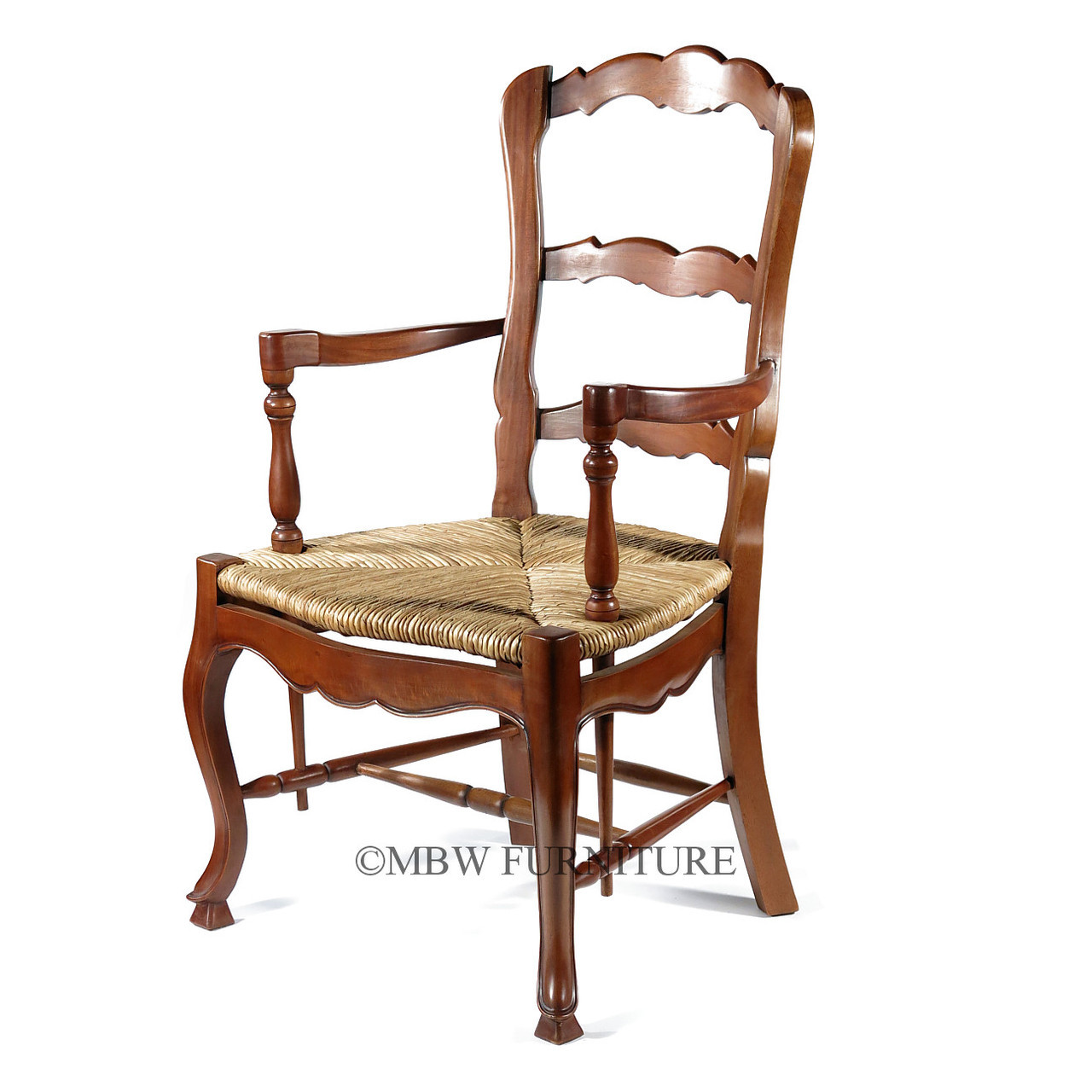 wicker ladder back chairs shabby chic nursing chair pair of 2 mahogany french country ladderback arm w