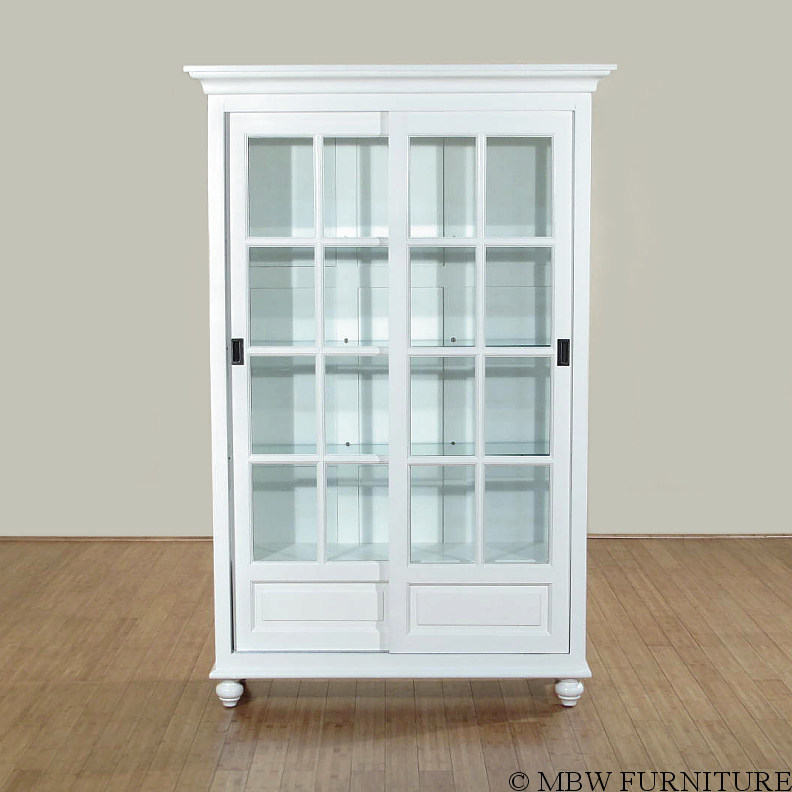 Solid Wood White Finish Sliding Glass Curio Hutch China