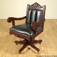 Walnut Leather Swivel Oversized Executive Office Chair | eBay