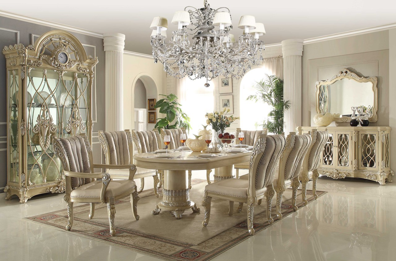Traditional Dining Room Chairs Homey Design Off White 12 Pc Traditional Dining Room Set