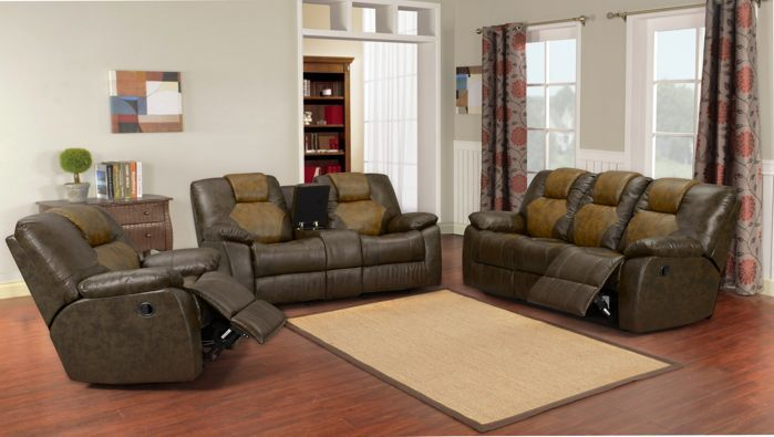 bonded leather reclining sofa set bernhardt cantor reviews 3 pc two tone brown   ebay