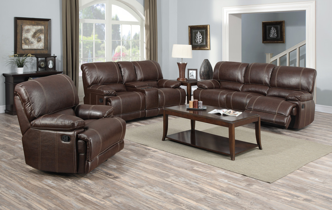 3 PC Brown Bonded Leather Reclining Entertainment Sofa Set