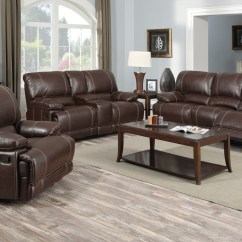 Nora Brown Leather Reclining 3 Pc Living Room Sofa Set Grayson Bed Target Bonded Entertainment