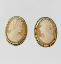 Carved Shell Cameo Earrings - Vintage Clip On Women's ...