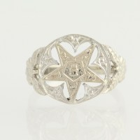 Order of the Eastern Star Ring - 14k White Gold Masonic ...