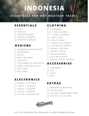 Indonesia packing checklist