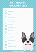 Pet travel packing list copy