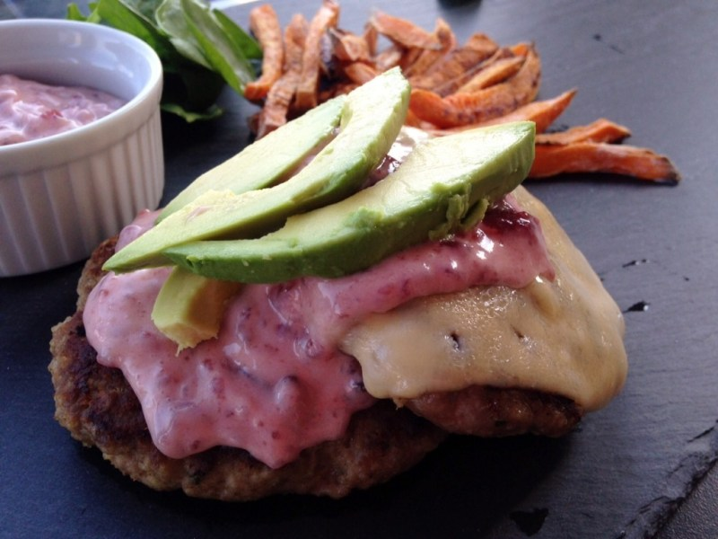 White Cheddar Turkey Burger with Cranberry Aioli