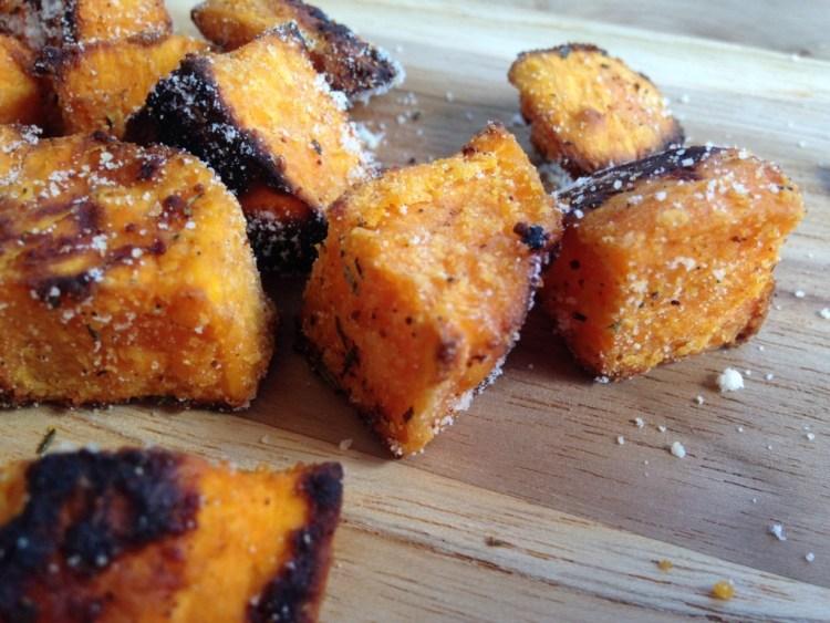 Roasted Parmesan Garlic Sweet Potatoes