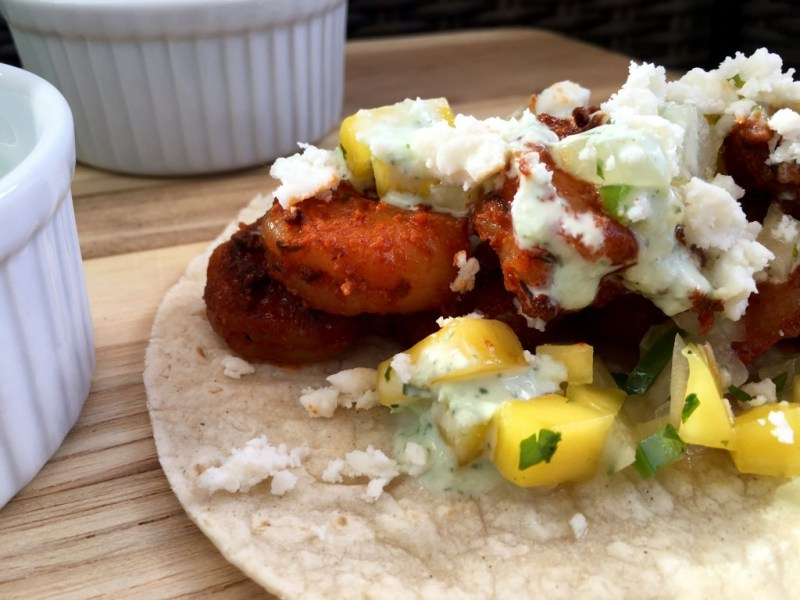 Blackened Shrimp Tacos with Mango Salsa and Cilantro Crema