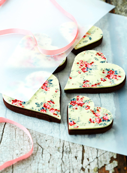 Chocolate Heart Cookie Recipes with Floral Print  Craftfoxes