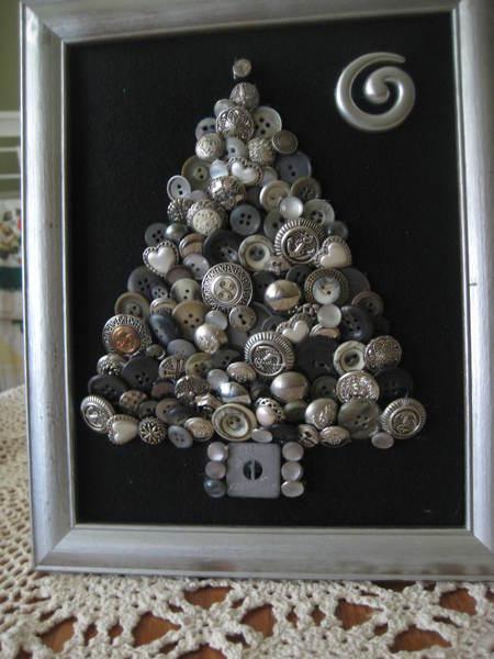 Silvery Button Christmas Tree Art  bunnyspurposes Shop