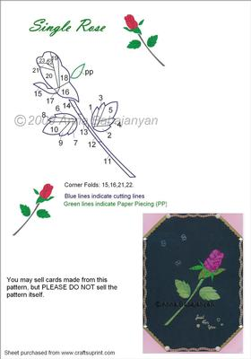Single Rose Iris Folding Pattern CUP79284 96 Craftsuprint