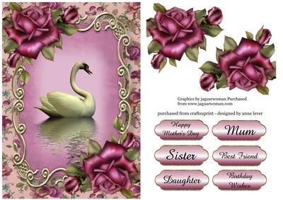 Purple Roses Swan Reflection CUP521912 1763 Craftsuprint