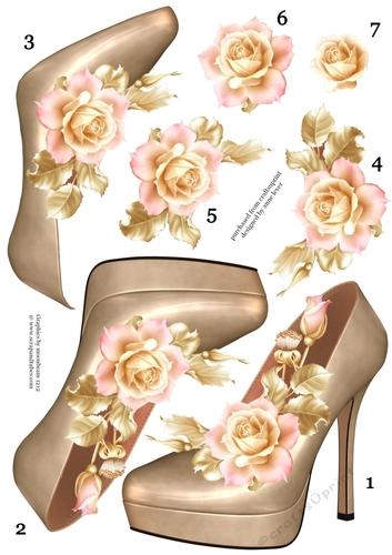 Stunning Shoe & Soft Pink Roses Decoupage Sheet