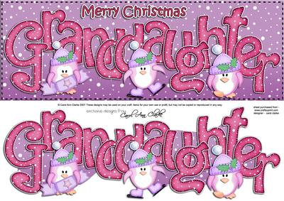 Xmas Large Dl Granddaughter Quick Card N 3D Decoupage