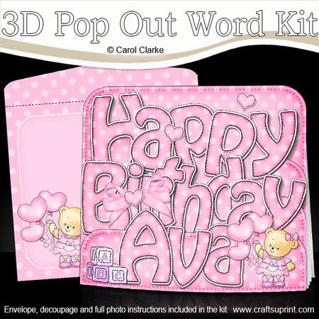 3D Happy Birthday Ava With Cars Pop Out Word Card