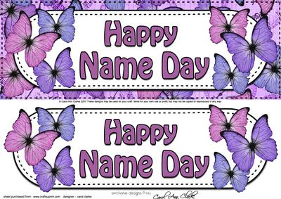 Large Dl Happy Name Day Butterflies Card & 3D Decoupage