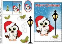 Christmas Hoot & Little Hoot Owls Postbox 5x7 3D Decoupage ...