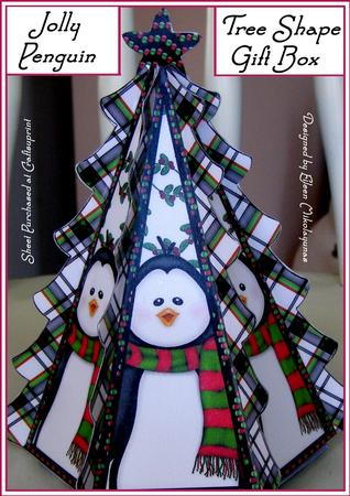 Jolly Christmas Penguin Tree Shape Gift Box With