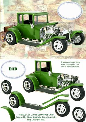 Vintage Car & Maps Decoupage Card Father's Day Birthday