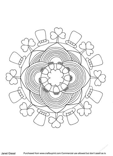 Saint Patricks Day Mandala Coloring Page/Digi Stamp