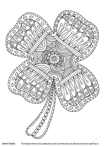 Saint Patricks Day Shamrock Coloring Page/Digi Stamp