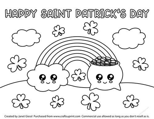 Cute Rainbow and Pot of Gold Coloring Page/Digi Stamp