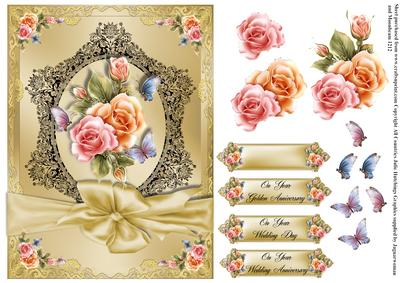 Vintage Style Gold Wedding Anniversary Card Front