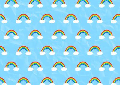 Girl Hugs Boy Wallpaper Vibrant Little Rainbows On Blue Background Backing Paper