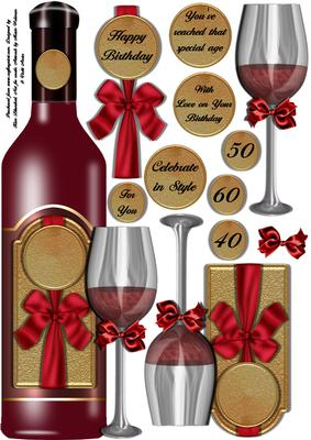 Red Wine Celebration Large Dl Shaped Topper CUP408379