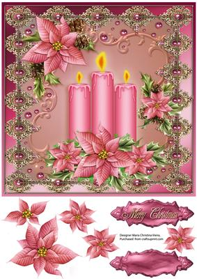 Pink Candles Christmas Decor 8x8 CUP6519921784
