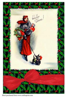 Art Deco Lady Walking Dog Christmas A4 CUP149510617