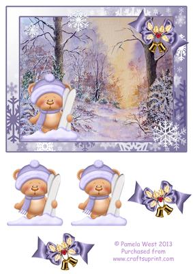 Ski Bear In The Snowy Woods Decoupage Topper CUP469042