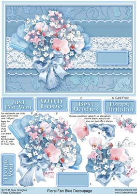 Floral Fan Blue Decoupage CUP214854422 Craftsuprint
