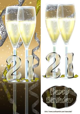 21st Birthday Card Front With Champagne CUP300454 1446