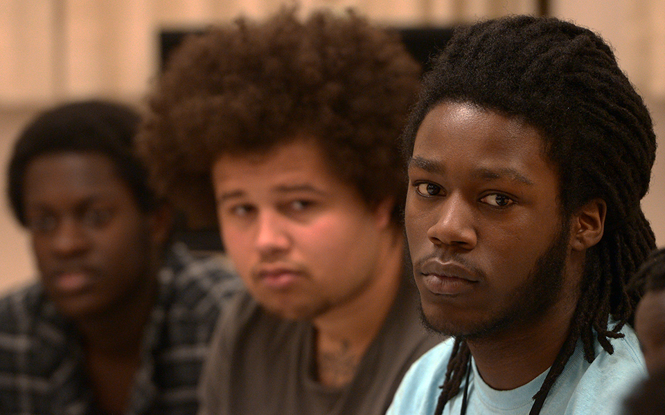 photo of three south high students - close up on their faces