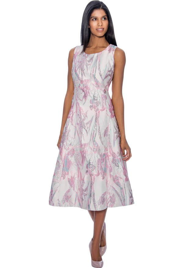 Dresses Nubiano 3402 Pink 2pc Printed -line Dress With