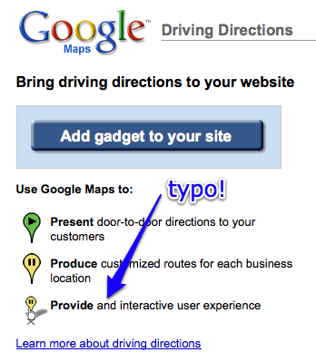 Google Maps Driving Directions Typo · Dented Reality on